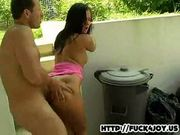 Hot brunette gets fucked outdoor