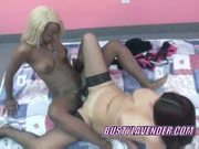 Lesbo lavender shares a dildo with ebony fiona