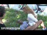 Interracial gangbang in public