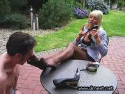 Garden foot worship and footjob