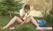 Beauty teenie masturbating at park