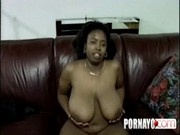Ebony With Huge Tits Gets Cumshot From White Man