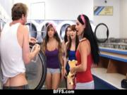 BFFS - college girls fuck creepy guy sniffing panties