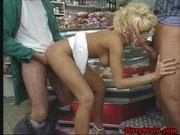 Threesome fuck in a public shop