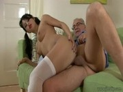 Pigtailed brunette fucked by older gentleman