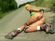Rollergirl Abby masturbates
