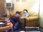 Sassy african whore gives interracial blowjob in hotel room