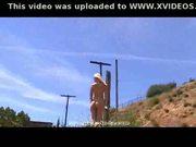 Blonde model public nudity