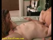 Homemade threesome fucking on the bed