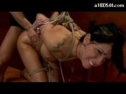 Hogtied Busty Girl Getting Her Ass Spanked With Stick Fucked In Doggy In The Dungeon