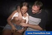Exhibitionist public blowjob in porn theater