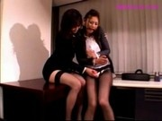 Girl In Suit Getting Her Fake Cock Sucked Sucking Vibrator In The Office
