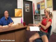 Blonde Student In Pigtails Fucks Teacher