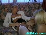Horny Milf and young girl licking pussy