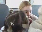 Two schoolgirls blow teacher