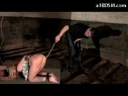 Girl With Box On Head Spanked With Stick In Doggy By Master In The Dungeon