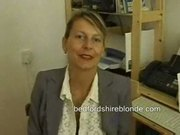 British milf secretary in stockings masturbating at work