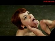 Redhead Girl With Tied Arms Riding On Master Sucking Cock Cum To Mouth In The Dungeon