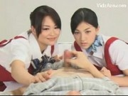 2 Asian Girls Watching How Guy Jerking In Pijama On The Bed