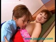 Kimono Wearing Asian Lesbian Licks Friends Pussy