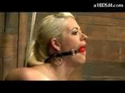 Blonde Girl With Mouthgag Getting Her Tits Rubbed Pussy Stimulated With Vibrator Fingered In The Dun
