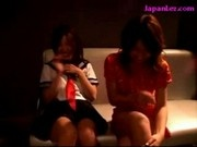 2 Schoolgirls Kissing With 2 Older Girls Getting Their Tits And Pussy Rubbed On The Couch