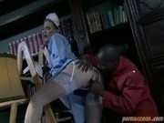 This Black Stud Fingers The Cleaning Lady's Ass