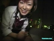 Schoolgirl Sucking Jerking Off Guy Cock Cum To Hands On The Bed