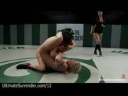 Two hot bare babes wrestling
