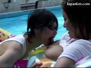 Busty Girl In White Shirt Getting Her Tits Rubbed Nipples Sucked Kissing In The Pool