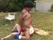 Interracial face smother