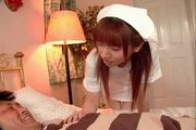 Aki yatoh lovely asian nurse rides on top