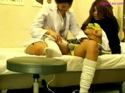 Schoolgirl And Doctor Stimulating Each Other Pussies With Vibrator On The Bed In The Schoolhospital