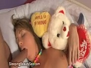 Sleeping blonde blowjob