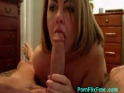 Blonde housewife sucking cock and playing with pussy