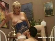 Blonde Granny in White Fishnet Stockings
