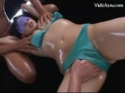 Blindfolded Girl In Blue Lingerie Getting Her Body Rubbed With Oil Pussy Fingered Stimulated With Vi