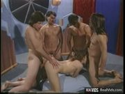 Dirty chick enjoying wild gang bang