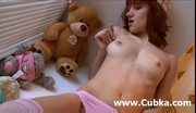 Brunette masturbation on the table