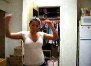 Busty brunette amateur webcam strip