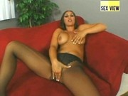 Hot brunette in pantyhose fucked