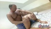 Teeny pussy rammed by big cock