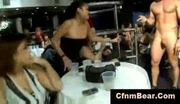 Shorthaired cfnm babe dragged on stage by cfnm stripper