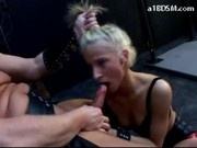 Slave Girl Sucking Masters Cock Spanked In Doggy Pussy Fucked With Stick In The Dungeon