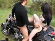 Outdoors fucking for teen motorcycle rider