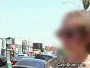Handjob stunt in car