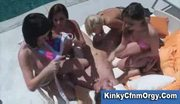 Cfnm bikini babes and one lucky guy have reverse gangbang