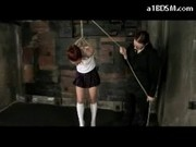 Girl In Skirt And White Boots Tied Arms Getting Bondaged Pussy Fingered Hanged By Mistress In The Du