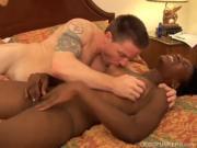 Super sexy slim black MILF fucks a lucky white guy