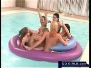 Six teen lesbian pool part orgy